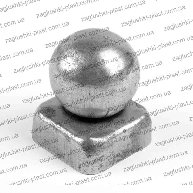 Заглушка металлическая квадратная 50 на 50 шар 60